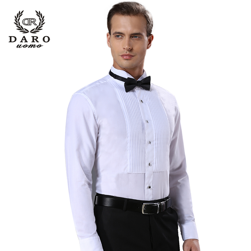 Mens French Shirt White Long Sleeve slim groomsman wedding dress show dress swallow Tie Shirt
