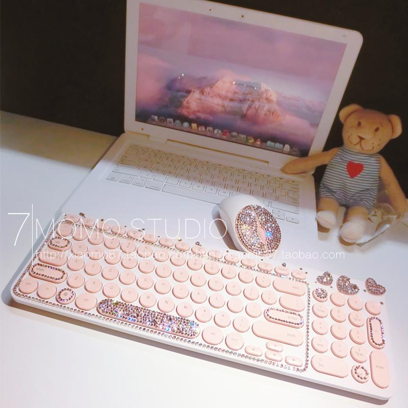 原粉色圆点无线键盘鼠标套装笔记本台式电脑限量版水钻少女心键盘