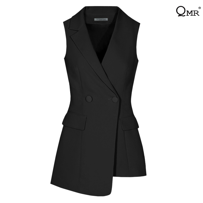 2020 new spring and autumn vest women's asymmetric collar short fit sleeveless suit fashion waistcoat