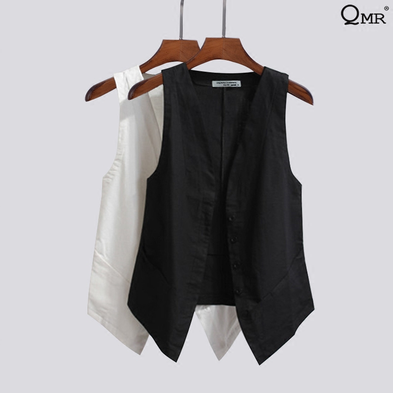 Spring and summer 2020 linen fashion casual sleeveless suit vest Women Short V-neck thin jacket cardigan coat