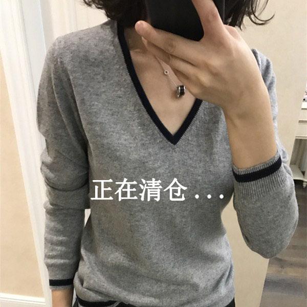 春秋冬新款羊毛衫女V领短款套头宽松撞色长袖毛衣大码针织打底衫