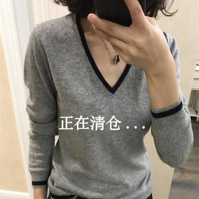 19秋冬新款羊绒衫女V领短款套头宽松撞色长袖毛衣大码针织打底衫