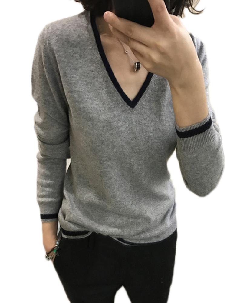 春秋冬新款羊绒衫女V领短款套头宽松撞色长袖毛衣大码针织打底衫