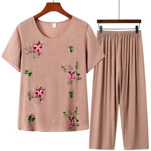 中老年人女装t恤奶奶装棉麻两件套装妈妈60岁70裤子夏装短袖上衣