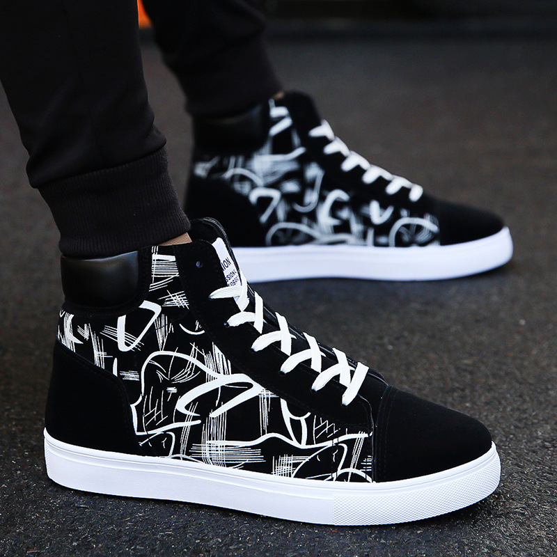 Canvas shoes mens high top shoes Korean version student casual shoes flat heel pattern trend youth sports running board shoes