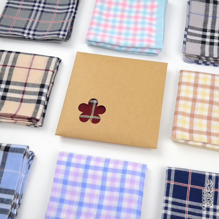 Scotch double soft thick yarn dyed pure cotton handkerchief for men and women