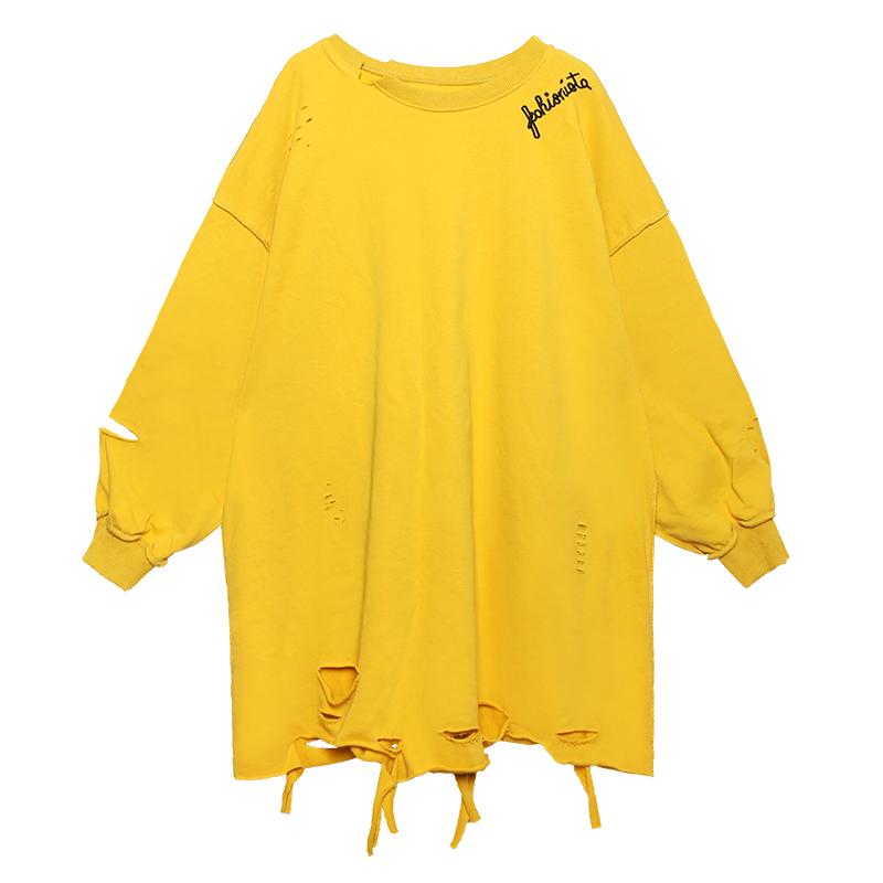 卫衣2020年春季女潮ins春秋薄款大码中长款长袖t恤女宽松破洞上衣