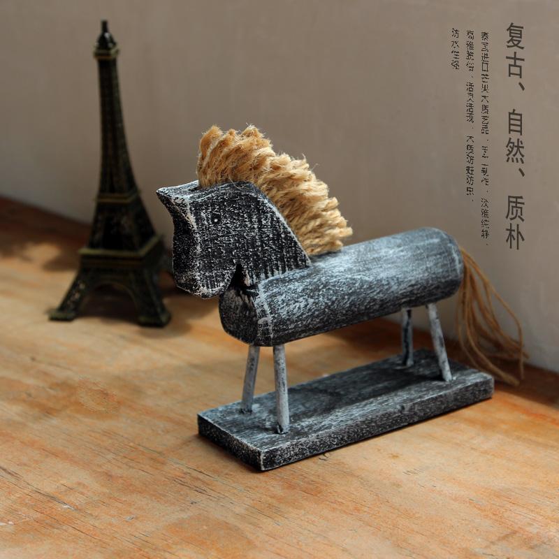 热卖北欧原木螺纹浮士德手工木马 家居装饰摆件 创意礼品木质动物