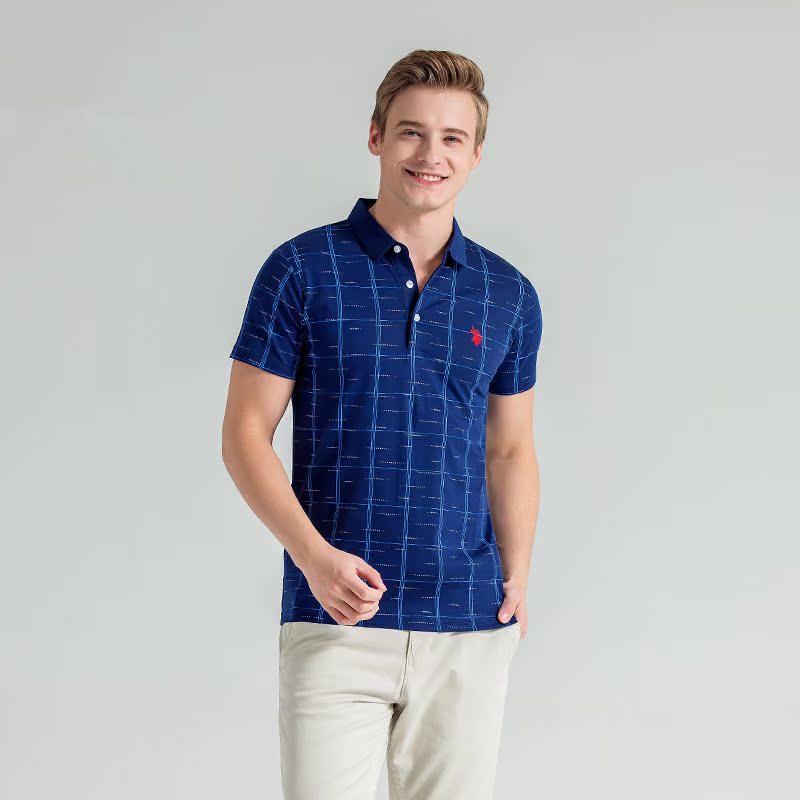 US Polo Association summer mens short sleeve polo shirt Lapel stripe short sleeve T-shirt middle aged