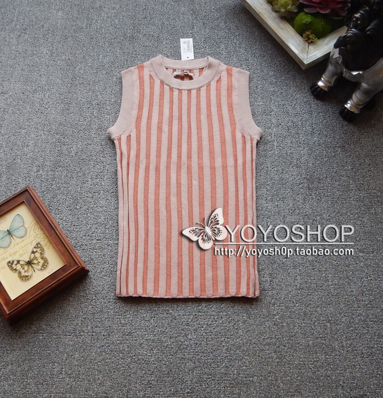Europe station spring 2019 new womens pink orange stripe color matching knitted vest special