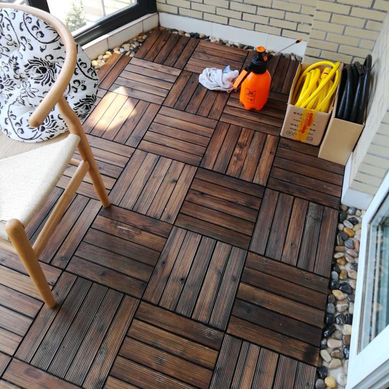 户外地板碳化防腐木室外露台塑木阳台庭院花园diy拼接实木地板