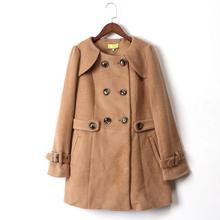库存折扣百搭双排扣韩版 呢子亚博安卓app大衣D2205 新款 秋冬女装 艾系列