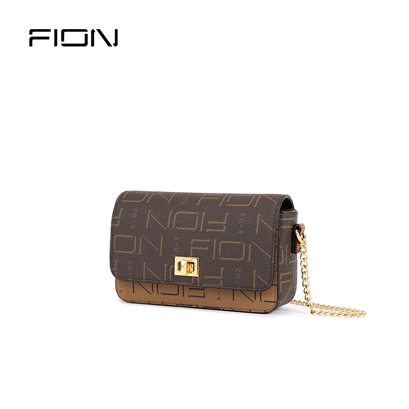 Fion / fiane new style lock lock small square bag foreign style crossbite women's Bag Mini old flower bag single shoulder chain bag