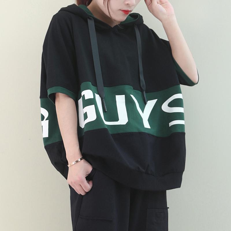 物格 夏装2020新款韩版宽松拼色大字母印花连帽卫衣短袖T恤女
