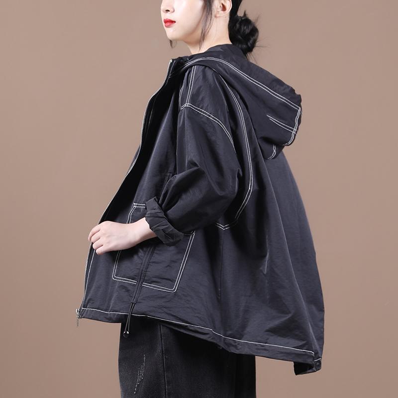 物格秋装2020新款韩版宽松大码文艺明线撞色口袋抽绳短款风衣外套