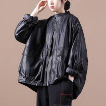 9.24新 秋装2020新款女韩版宽松大码文艺双口袋棒球领皮衣短外套