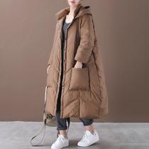 反季羽绒特价韩版宽松大码文艺压线双口袋长款连帽白鹅绒羽绒服女