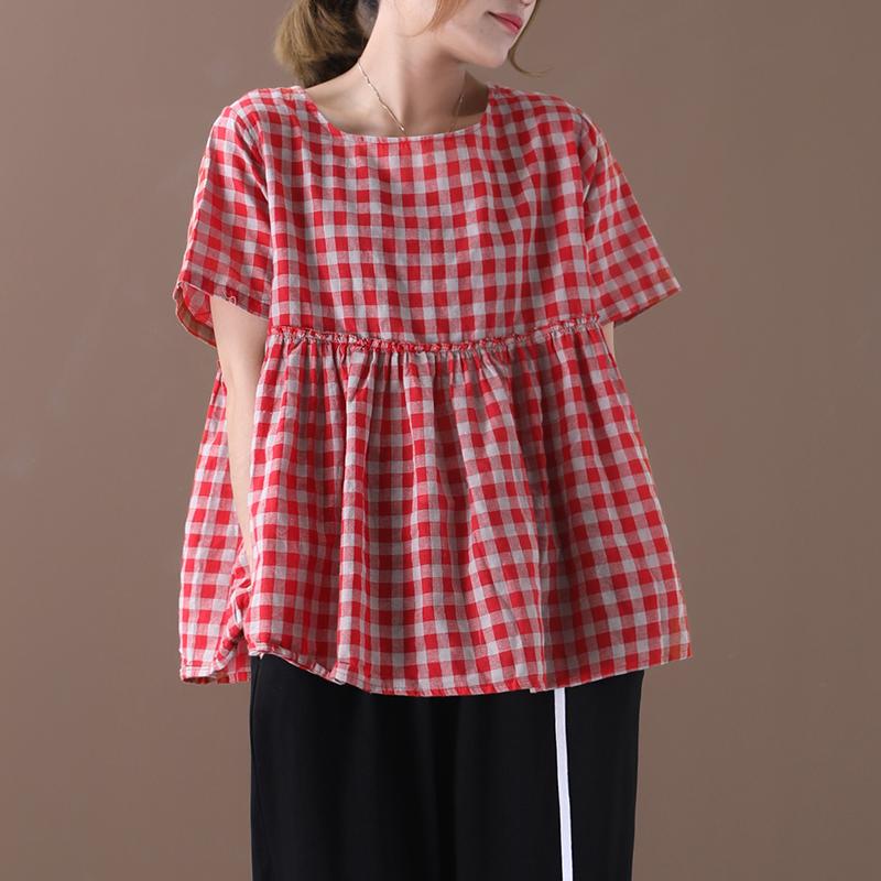 物格 夏装2020新款韩版宽松大码文艺木耳边褶皱格子娃娃衫T恤女