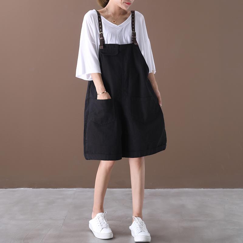 物格 夏装2020新款韩版宽松大码文艺双口袋百搭显瘦背带短裤女