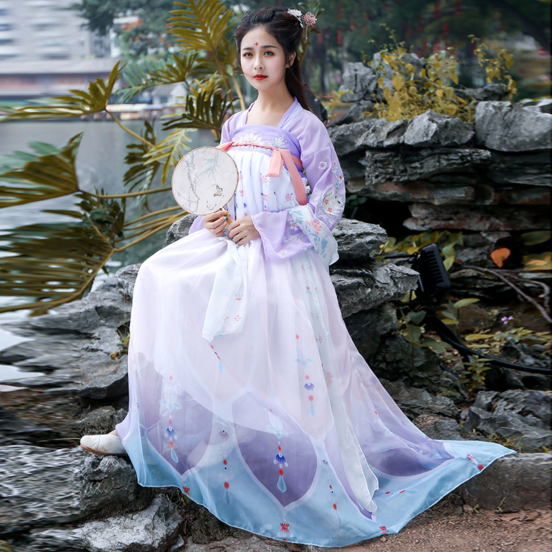 汉服女中国风古装仙女飘逸对襟学生日常改良古风女装樱花超仙襦裙(非品牌)