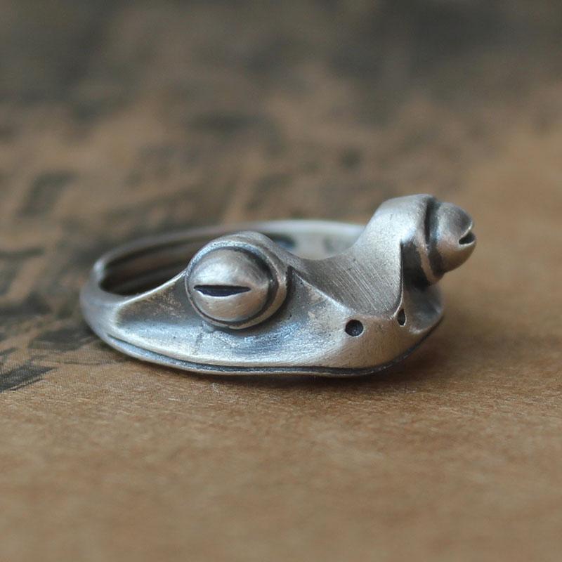 S925纯银青蛙金蟾戒指做旧复古泰银指环简约原创招财男女戒子礼物