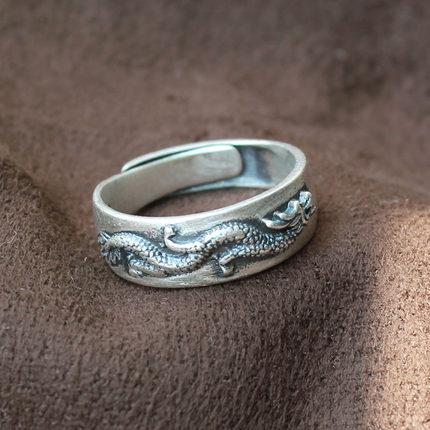 99足银原创复古做旧个性龙形男指环