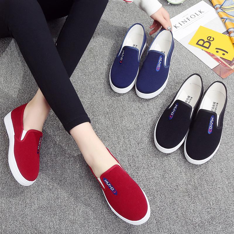 可爱清新平跟布鞋懒人鞋女一脚蹬平底红色中年时尚夏季单鞋