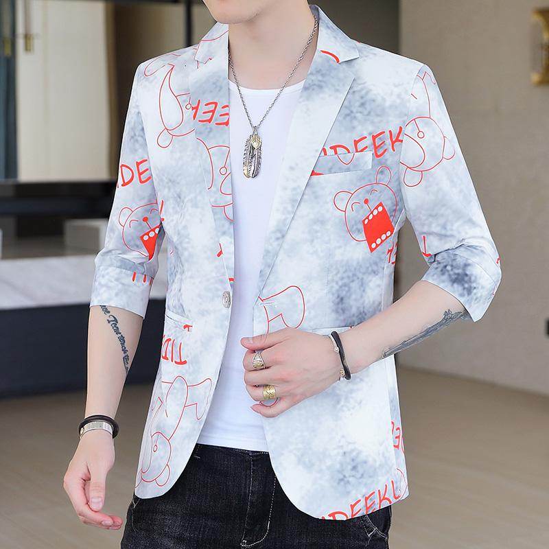 夏季七分袖西装男韩版修身中袖小西装潮流帅气休闲西服男2011-P65