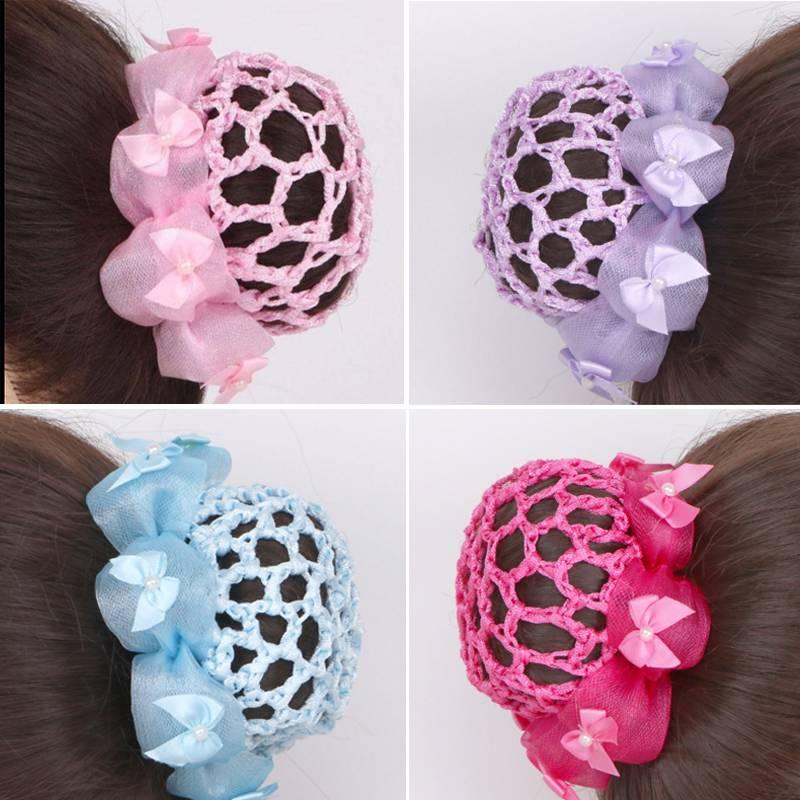 Childrens curling headgear girls ball head dance special net bag girls Grading Test dance curling headgear small hair cover