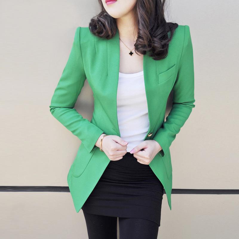 2018春秋装新款韩版修身百搭ol休闲小西装女外套西服长袖中长款潮