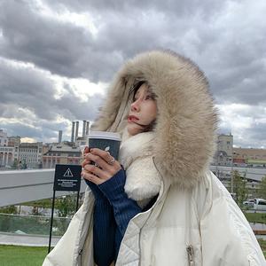 EKOOL大毛领连帽羽绒服女中长款冬季工装风长款过膝保暖