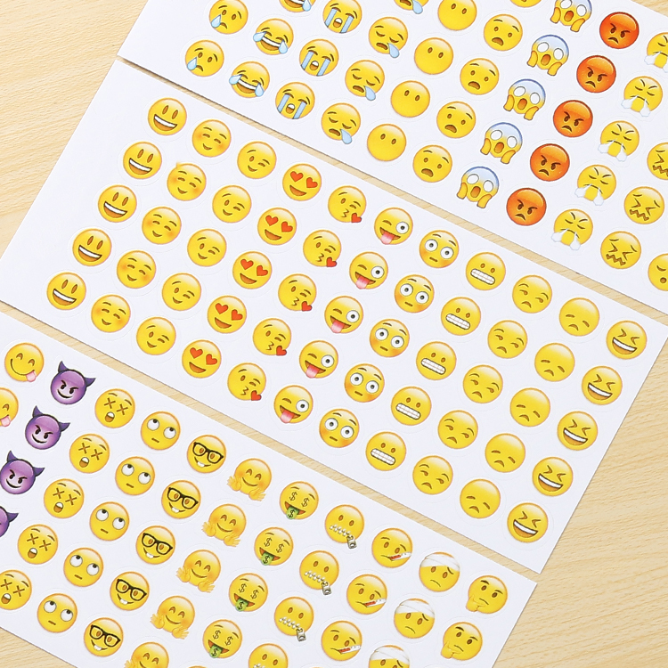 11-12新券Emoji可爱创意卡通手账粘贴纸小清新表情diy相册装饰工具手帐贴纸