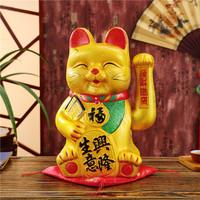 招财猫店铺开业摆件电动摇手笑脸猫小号陶瓷猫发财猫家居招财进宝