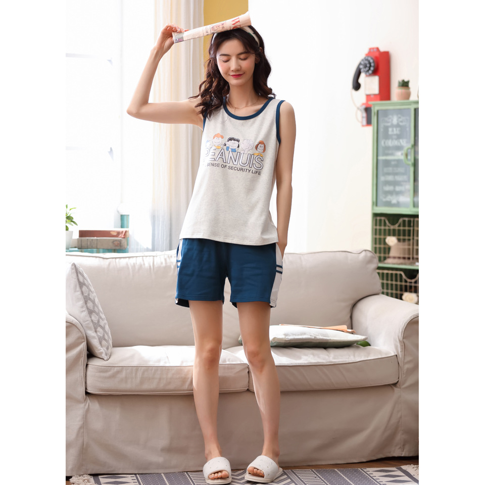 Summer pajamas new cartoon vest pure cotton home wear student womens sleeveless vest shorts thin suit