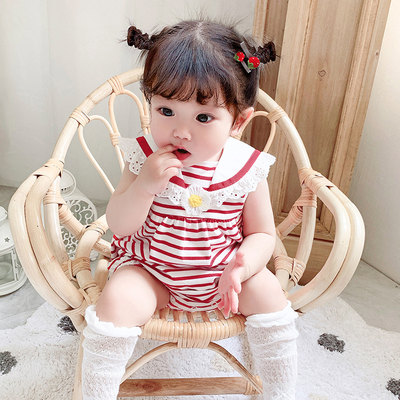 2020 new baby stripe color matching embroidered Jumpsuit