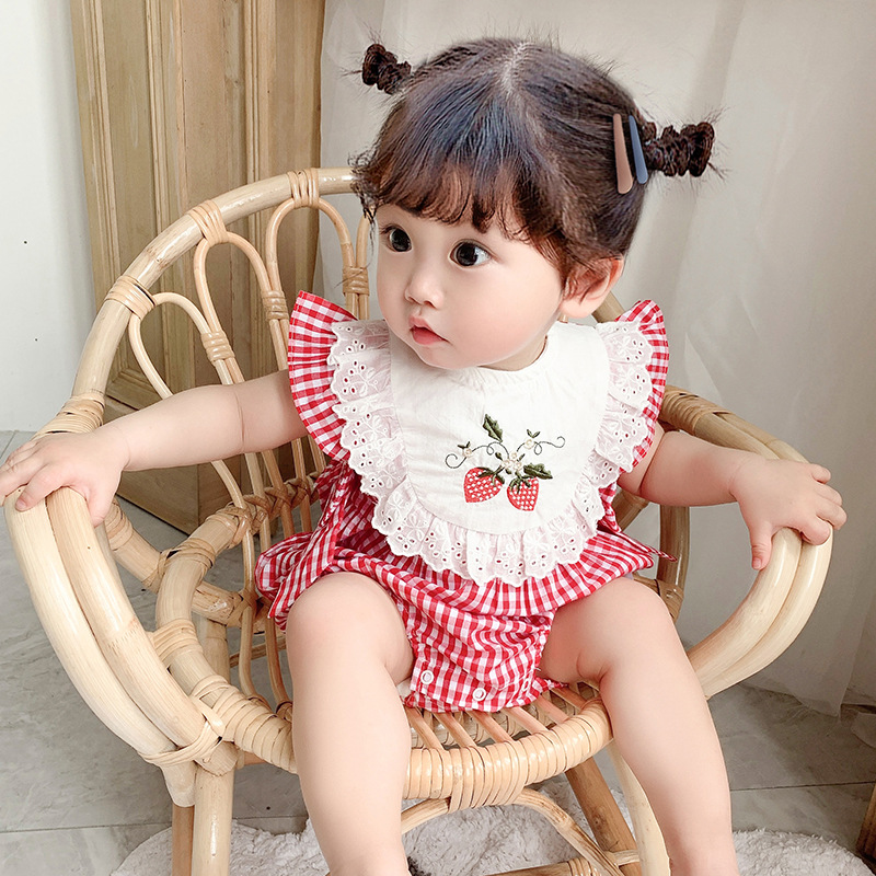 2020 new net red baby red and white plaid embroidered Jumpsuit