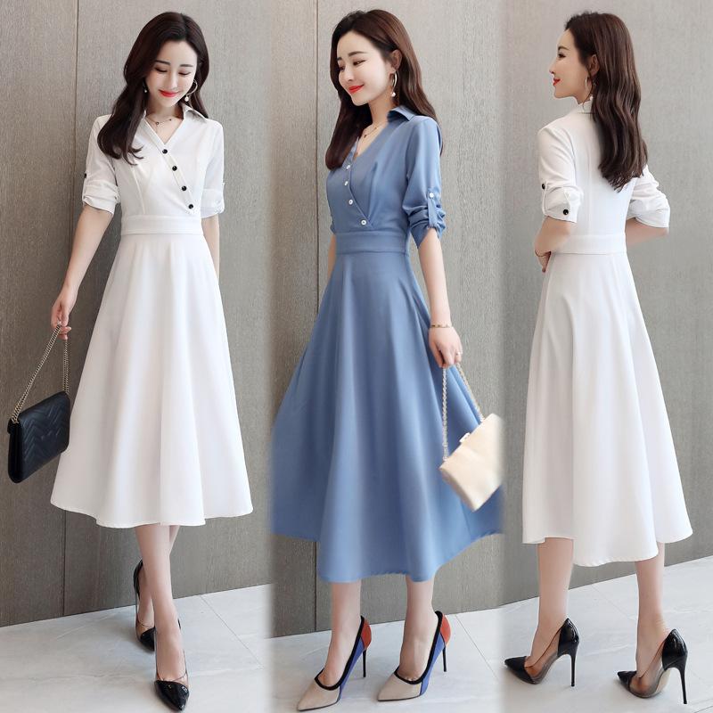 2020夏新款连衣裙衬衫领纯色时尚雪纺高腰修身显瘦中长款连衣裙