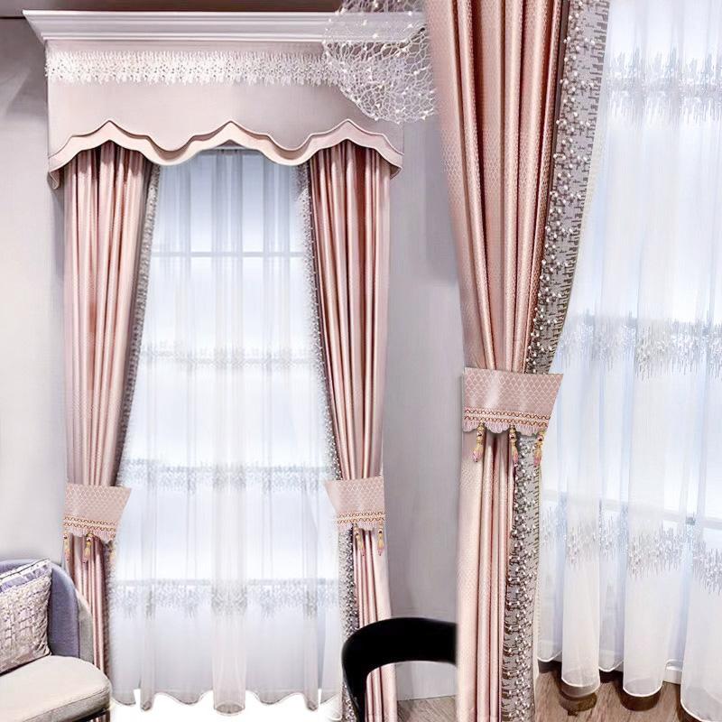 軽量豪華北欧簡約2021新型高級美丽刺繍リビングルームの遮光断熱製品のカーテン半夏