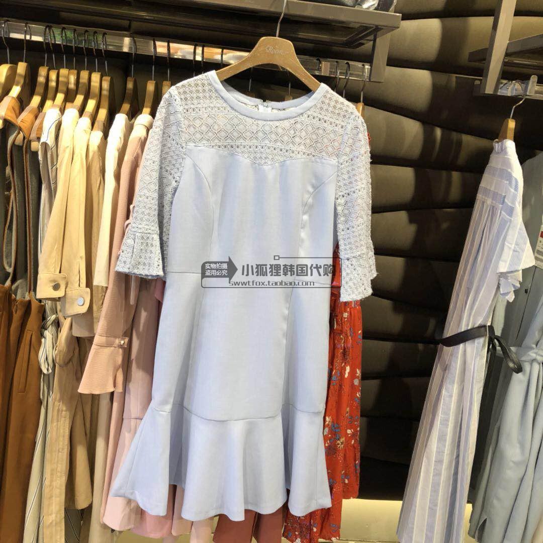 小狐狸韩国海外代购ROEM专柜18新款蕾丝网状款显瘦收腰连衣裙女款