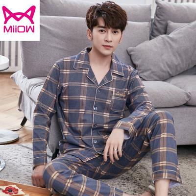 猫人男士长袖纯棉春秋季开衫睡衣