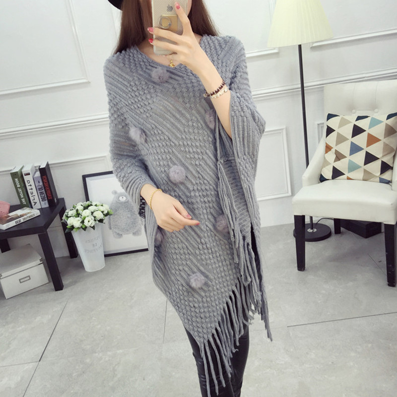 Daily special offer autumn fashion knitwear womens sweater Batman irregular coat Korean Cape large loose Cape