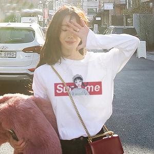 2020春季新款韓版白色印花女士長袖T恤女百搭打底衫上衣女裝