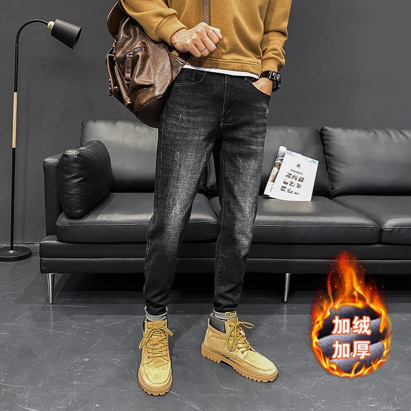 韩版潮流长裤大货弹性2020秋冬牛仔裤男士修身百搭N207 P65加绒75
