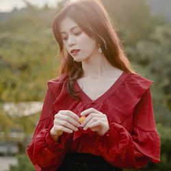 蜜搭 复古法式长袖衬衣荷叶V领气质红色设计感小众雪纺衬衫女秋