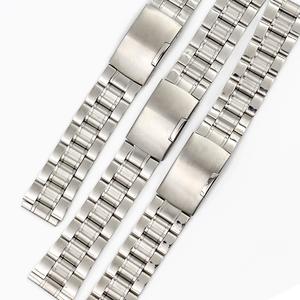 包郵 全不銹鋼表鏈 手表鋼帶 平口 平耳男表石英表配件 182022mm