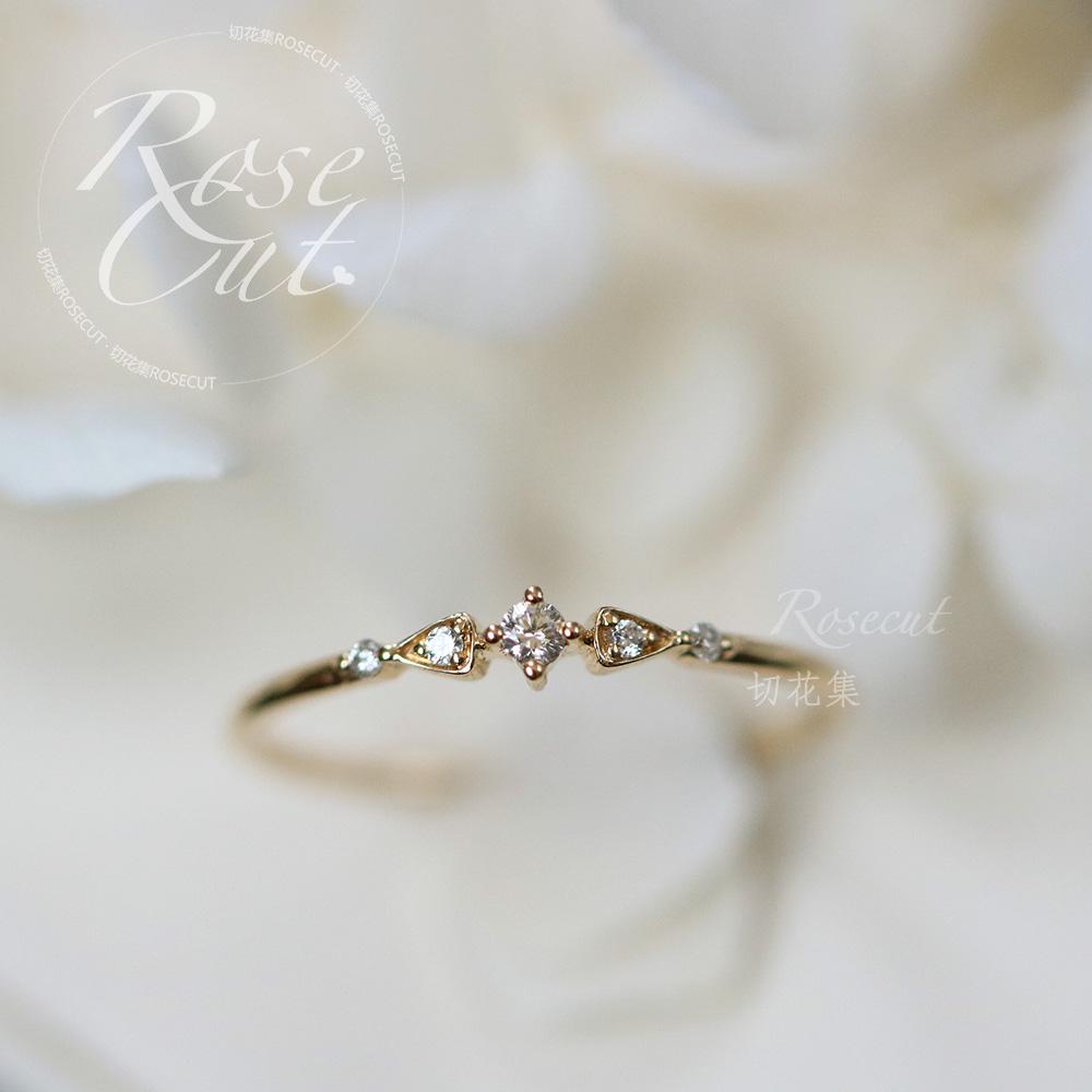 Cut Flower Set Summer Firefly 18K Gold Inlay Японский стиль винтаж Необычное алмазное кольцо