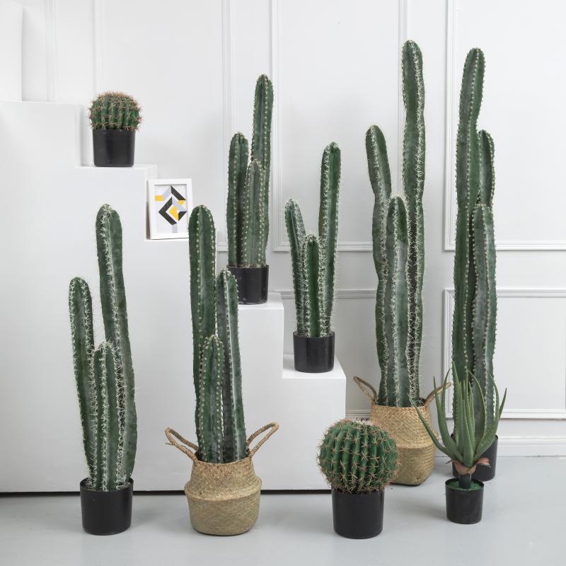 北欧植物大型仿真仙人掌三头仿真仙人柱落地绿植摆件橱窗盆摘道具