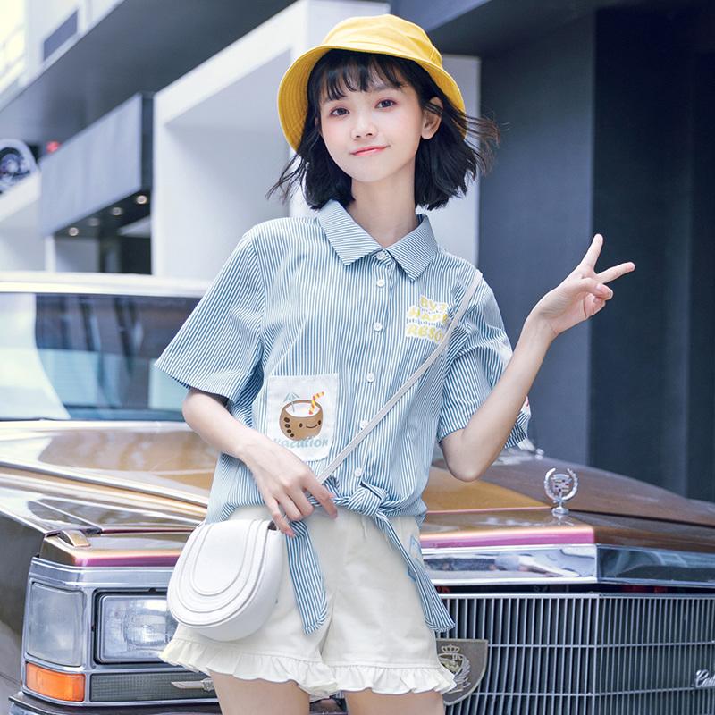 原创布衣酱悠闲假期短袖衬衫女2018夏装新款女装韩版条纹学生衬衣