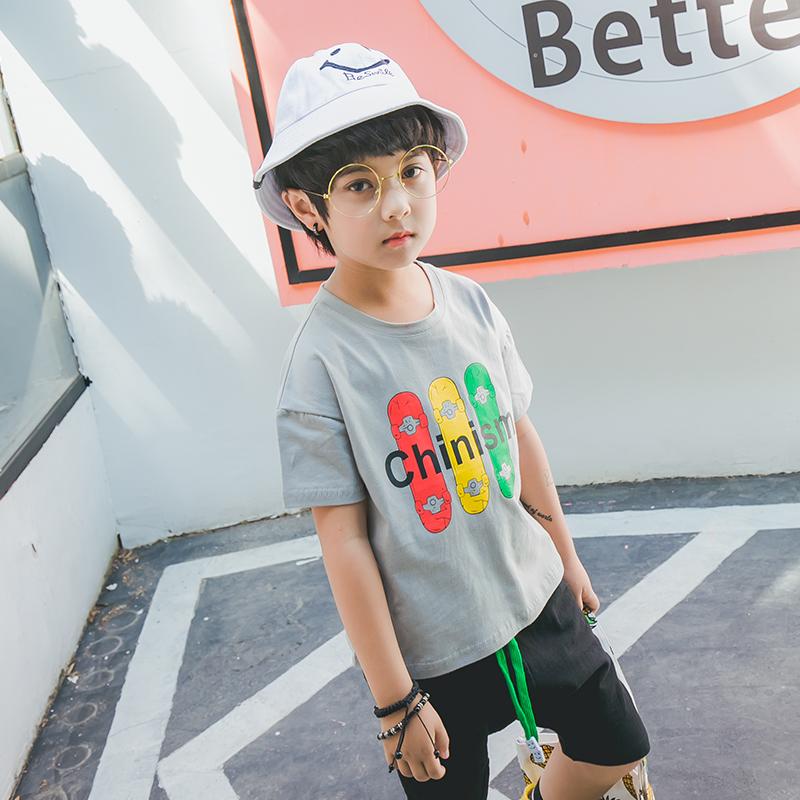 娜娜拉拉男童装短袖T恤 2018新款夏装 潮儿童翻领打底衫T恤8229