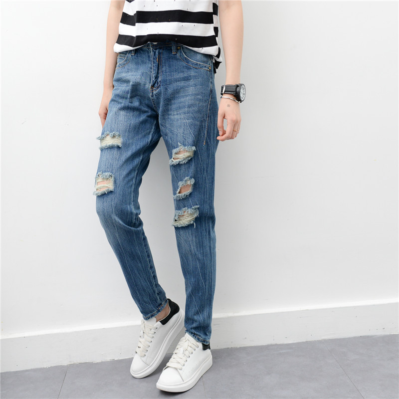 Foreign trade original single BF boyfriend style Euro American re jeans baggy pants three dimensional cutting hole loose female jeans